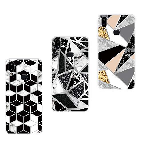 Everainy 3 Pack Compatibel met Samsung Galaxy A10s 2019 Hoes Siliconen Ultradun Marmer Case Rubber Bumper Telefoonhoes Hoezen TPU Bumper Schokbestendig Beschermhoes (driehoek/grijs/wit), Diamant/zwart/goud