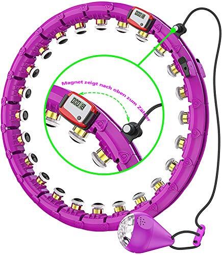 SLERFT Hula Reifen für Erwachsene & Kinder, 15-24 Teiliger Abnehmbarer Hoola Hoop Reifen, Intelligentes zählen Hula Reifen für Gewichtsverlust/Bauchformung/Workout/zu Hause Fitness. (violett -2)