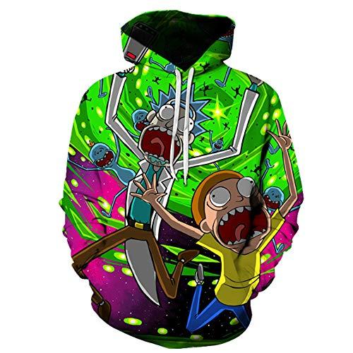 Synona Rick and Morty Sudaderas con Capucha Impresa en 3D Christmas Sweater Jumper Rick and Morty Hoodie Unisex Rick Morty Cosplay Costume Casual Tops de Manga Larga Pullover Sweatshirt Hombre