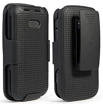 Case with Clip for Alcatel Smartflip/Go Flip 3 Nakedcellphone [Black] Snap-On Cover with [Rotating/Ratchet] Belt Hip Holster Holder Combo for Alcatel Go Flip 3 Alcatel Smartflip Phone  4052