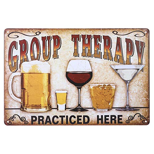 Fenical Targhe in metallo vintage Wall placca Poster 'Terapia di gruppo praticato qui' per Cafe Bar Pub birra Club parete Home Decor
