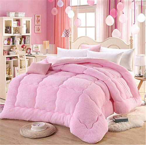 Hxsm 1PCS Lamb cashmere velvet Fabric warm winter wool quilt thicken comforter duvet blanket king queen size double Cashmere-100_x_150cm_1.5kg