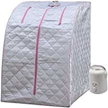 Durherm Portable Personal Therapeutic SPA Home Steam Sauna Weight Loss Slimming Detox (Pink Outline)