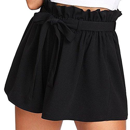 luoluoluo Pantaloncini Donna, Pantaloncini da Donna in Tinta Unita Donne Casual Design Sciolto Pantaloncini a Vita Alta con Cintura Pantalone con Fiocco e Vita Alta Donna (A, XL)