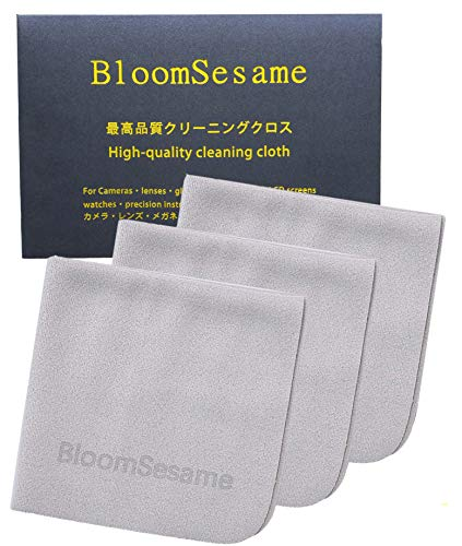 BloomSesame メガネくもり止めクロス くもらないメガネふきクロス マイクロファイバー素材 3枚セット グレー