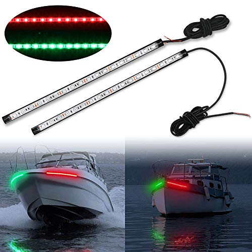Obcursco 12 Inch LED Boat Bow Navigation Light Kits for Marine Boat Vessel Pontoon Yacht Skeeter - 1 Pair - Red & Green.