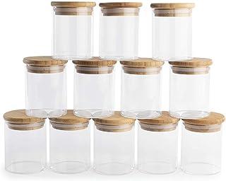 Bocaux en verre avec couvercles en bambou - Lot de 12 | Hermétique 150ml | Rangement et organisation des aliments dans la ...