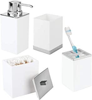 mDesign Plastic Bathroom Vanity Countertop Accessory Set - Includes Soap Dispenser Pump, Divided Toothbrush Holder, Tumble...