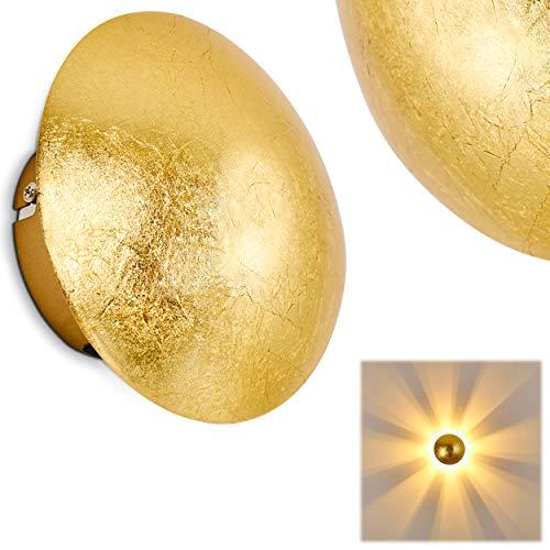 Wandlampe Mezia, runde Wandleuchte aus Metall in Gold mit Lichtspiel an der Wand, 1 x G9 max. 28 Watt, Innenwandleuchte mit Strahlen-Effekt in Struktur-Gold-Optik, geeignet für LED Leuchtmittel