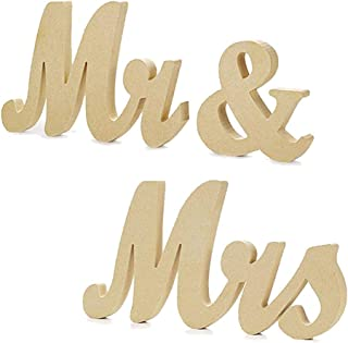 Cynzia Wooden Mr & Mrs Letters Sign Wedding Decor Vintage Style Table Decor for Wedding Gift, Photo Props,Party Table,Top Dinner,Rustic Wedding Decorations