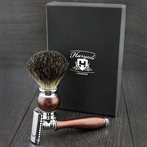 Herren Rasur Doppelter schneide, klinge rasierhobel set Rasierpinsel in Geschenkbox Abbildung 2