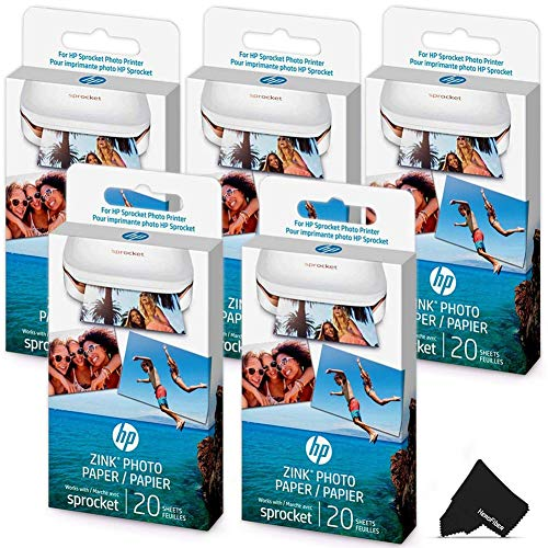 HeroFiber 5 Pack HP Sprocket Photo Paper, 100 Sticky-Backed Sheets Total, Exclusively for HP Sprocket Portable Photo Printer, (2x3 inch) + Herofiber Microfiber Cloth