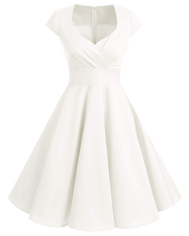 White Dress - Women's Casual Crewneck Half Sleeve Summer Chiffon Tunic Dress