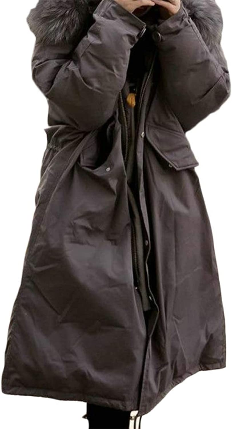 Joe Wenko Womens Parkas Packable Mid Length Outdoors Faux Fur Hooded Quilted Down Jacket