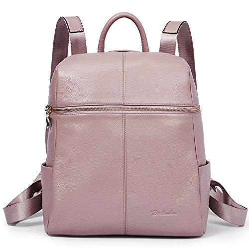 BOSTANTEN Women Leather Backpack Handbag Genuine Leather Rucksack Ladies Casual Daypacks Fashion School Shoulder Bag for Girls Pink