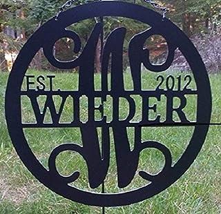 Split Letter W Monogram Metal ACM Sign Personalized Last Name W Door Hanger Initial W Wreath 24 in