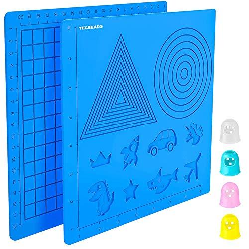 Tecbears Alfombrilla de silicona para bolígrafo de impresión 3D,Almohadilla de Silicona Modelo de Dibujo de Pluma de Impresión 3D Viene Con 4 Protectores de Dedos Para Niños Y Principiantes.
