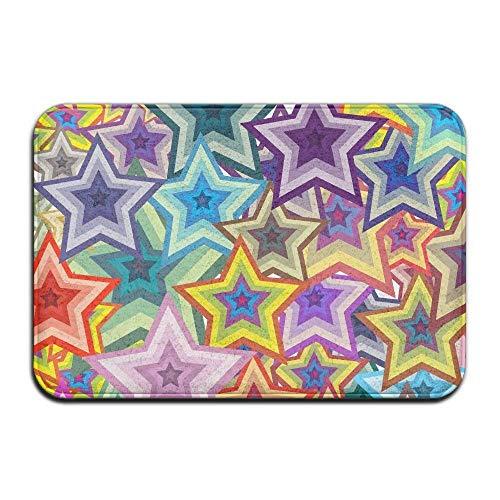 Novelcustom Stars Colorful Indoor Outdoor Doormats Super Absorbs Mud Dirt Easy Clean Cute Cat Floor Rug Door Mats 15.7\