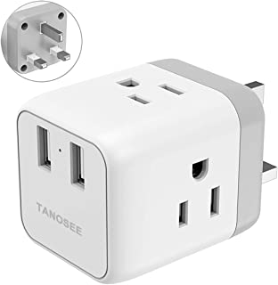 5 in 1 Input Compact Design UK Power Adapter, UK Travel Plug Adaptor with 2 USB Charger and 3 American Outlets, US to UK Ireland British Scotland England London Hongkong Outlet (Type G Plug)