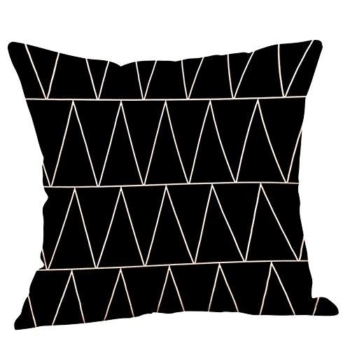 Federa Geometrico Lino Bianco E Nero,Decorazioni per La Casa Fodera per Cuscino Auto da Divano Hug Federa Quadrata 45Cm*45Cm(D,45cm*45cm)