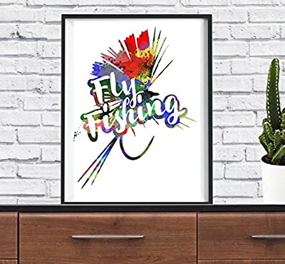 Fly Fishing Rod Hunter Hobby Home Family Funny Art Print Watercolor Wall Art Nursery Wall Decor Poster from spb87