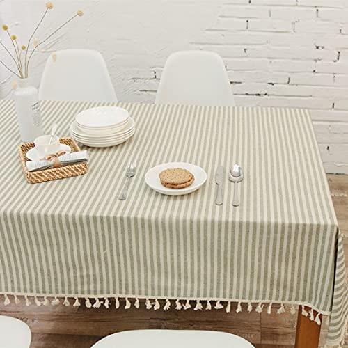 XGguo Mantel de Plástico para Fiestas Interiores o Exteriores Cumpleaños Bodas Picnics Borla Simple de Lino y algodón a Rayas