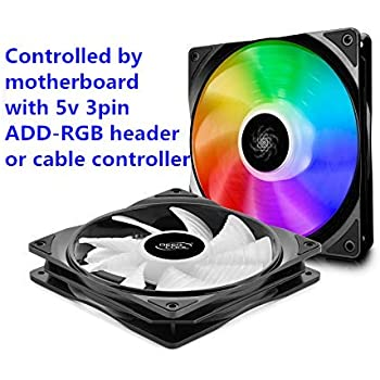 DEEP COOL CF140 2IN1, Addressable RGB, Motherboard SYNC by 5V ADD RGB 3-pin Header, SYNC with Other ADD-RGB Devices, Cable Controller Available, 2x140mm PWM Fans