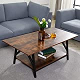 CO-Z 47' Industrial Coffee Table with Storage Shelf, Solid Wood and Metal Legs for Living Room, 2-Tier Accent Cocktail Table, Easy Assembly, Rustic Brown