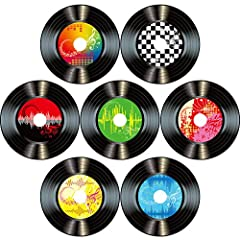Records cut-outs: great for rock and roll music party, 50's themed party, school events, or any scene and music theme home decoration; Adding active atmosphere for your theme party, suitable to match your event and build fun memories for the big day ...