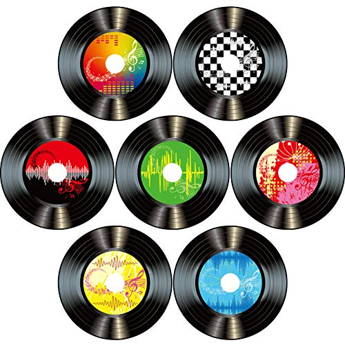 Boao 35 Pieces 7 Inch 1950's Rock and Roll Music Party Decorations Paper Records Colorful Party Cut-Outs Wall Decor Signs for 50's Theme Party Supplies Music Party Favors (Record Wall Decor)