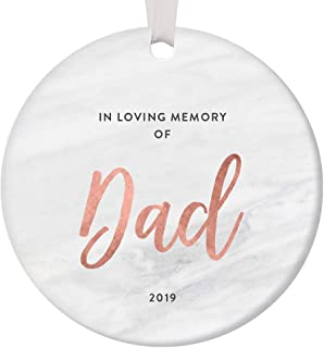 In Loving Memory Dad Ornament Christmas 2019 Sympathy Condolence Gift Father Passed Away Grieving Family Lost Loved One Funeral Remembrance Memorial Keepsake Sleek Rose Gold Marble 3