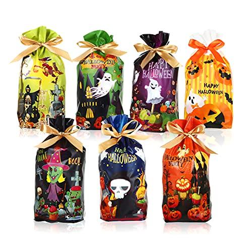 LEMESO 56 pz Sacchetti di Caramelle di Halloween da Regalo con Coulisse Borsa Bomboniere Confezione per Dolcetto o Scherzetto Trick or Treat Biscotti Cioccolatini Decorazione Forniture