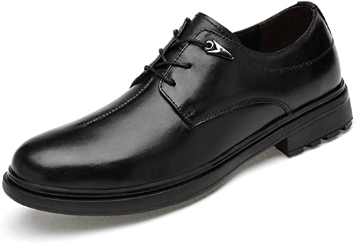Cuir verni Mode pour hommes confortable loisirs Chaussures Affaires Oxford formelle Chaussures à lacets en cuir véritable bout rond Chaussures habillées ( Couleur   Noir , Taille   40 EU )