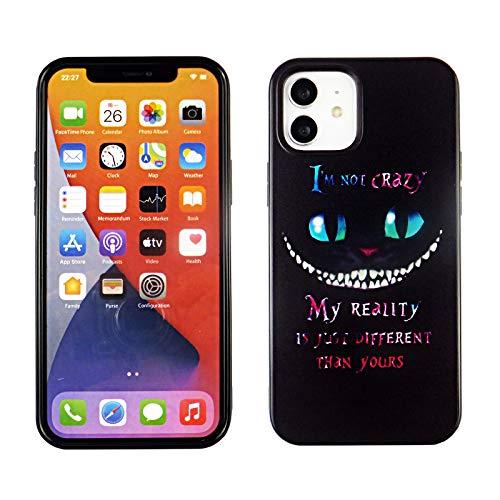 iPhone 12 6.1 Inch TPU Case CASEVEREST 3D Print Design Slim Fit Cover iPhone 12 Pro Black Cat Alice Quotes