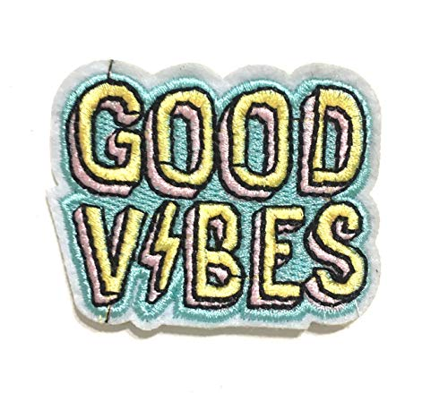 Small Cute Good Vibes Iron on Patches for Jackets Backpacks Jackets Hats Vest Jeans patchs Accessory for Men Women Unisex Sewing Iron on Fashion Design Style Accessories Small Customize ur Things