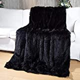 Yusoki Fluffy Faux Fur Blanket 50' x 60',Washable Warm Furry Soft Throw Blanket for Bed Chair Sofa Car Seat (Black, Throw50 x 60')