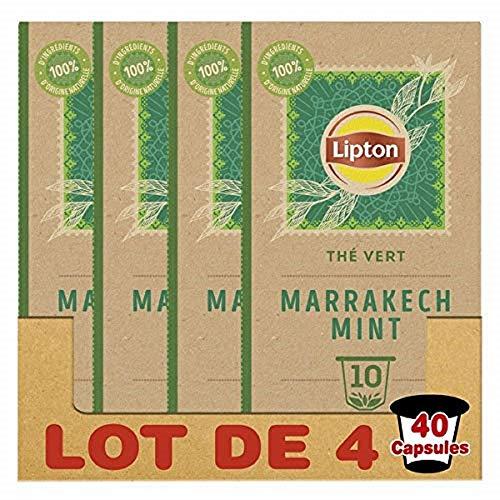 Lipton Capsulas de te verde compatibles con Nespresso Marrakech Mint (juego de 4 x 10 capsulas).