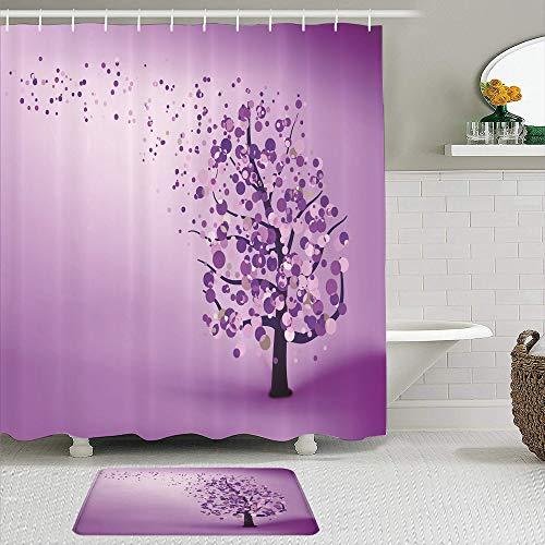 SHENGLIPINK Stoff Duschvorhang und Matten Set,Abstraktes buntes Baum-Puzzle,wasserdichte Badvorhänge mit 12 Haken,utschfeste Teppiche