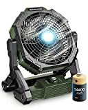 14400mAh Battery Operated Powered Fan, 12' Portable Rechargeable Fan, Cordless High Velocity Industrial Fan, Floor Cooling Fan with Light, for Bedroom, Outdoor, Garage, Gym, Camping, Travel, Office