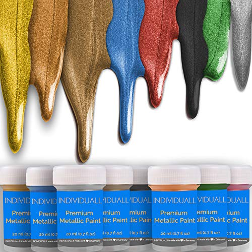 Premium Metallic Acrylic Paint Set by individuall – 8 Professional Grade Metallic Paints – Art Supplies Made in Germany – Craft Acrylic Paint Set with Metallic Effect – Canvas Painting & Any Surface