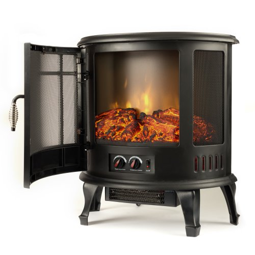 e-Flame USA Regal Freestanding Electric Fireplace Stove - 3-D Log and Fire Effect (Black)