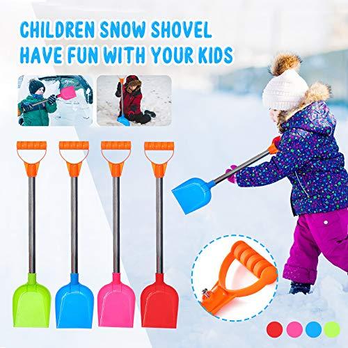Schneeschaufel Kinder Plastik Stabil, Schneeschieber mit Metall Stiel, Sandschaufel Groß Spielstabil, Kinderschaufel Kunststoffschaufel Gartengeräte für Strand Schnee Winter Outdoor (Z-Mehrfarbig)
