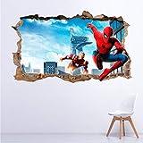 Vinilo Decorativo Infantil Spiderman Iron Man 3D Realista – 90x55 cm – Autoadhesivo de fácil colocación – Habitación Infantil