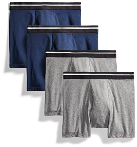 Goodthreads Men#039s 4Pack TagFree Boxer Briefs Charcoal/Dark Navy Large