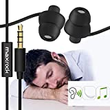 MAXROCK (TM) Unique Total Soft Silicon Sleeping Headphones Earplugs Earbuds with Mic for Cellphones,Tablets and 3.5 mm Jack Plug (Black)