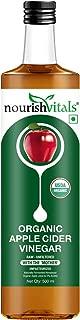 NourishVitals USDA Organic Apple Cider Vinegar - Raw, Unfiltered with Mother Vinegar - 500ml