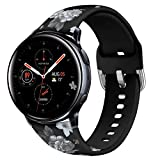 KEYSJEFF 20mm Floral Bands Compatible with Galaxy Watch Active2 /Active 42mm Bands Women Soft Silicone Bracelet Replacement for Samsung Galaxy Watch SM-R500/SM-R810 XY91008US (#9,Size Small)