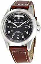 Hamilton Men's Stainless Steel Automatic Watch with Leather Strap, Brown, 20 (Model: H64455533)
