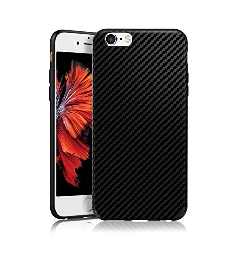 MADIBA Hülle kompatibel mit iPhone 6 Plus Carbon Hülle Design Schwarz Black (Ultra Dünn) [FederLeicht] Handyhülle Bumper Cover Schutz Silikon