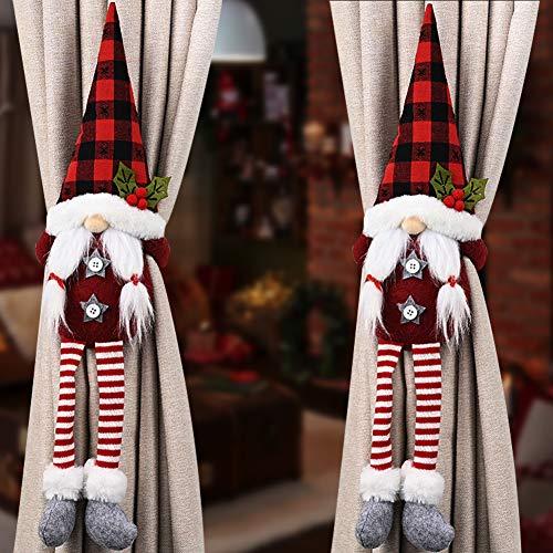 HIDARLING 2 szt. świąteczne krawaty do zasłon zasłona klamra uchwyty na pasek okienny klamra uchwyt Boże Narodzenie dekoracje okienne (czerwony pasek)